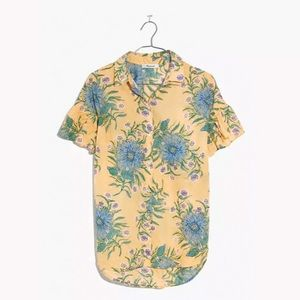 Madewell Painted Blooms Ruffle-Sleeve Button-Down
